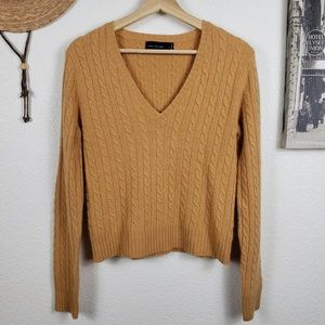 The Limited Cable Knit Wool Angora Blend V-Neck